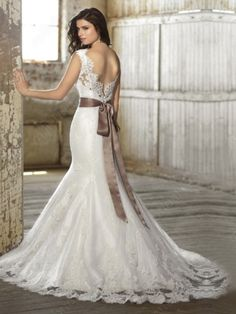 Trumpet/Mermaid Off-the-shoulder Lace Satin Chapel Train White Sashes / Ribbons Wedding Dresses