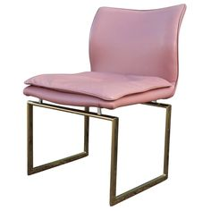 Fabulous Set of Six Brass and Pink Leather Dining Chairs 3
