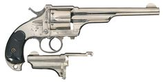 Merwin Hulbert & Co. 3rd Model Pocket Army Double Action revolver with Extra Barrel. Cal.  44-40 Win  BBL: 7 inch  BBL: 3-3/4 inch Finish: nickel  Grips: hard bird's head rubber  Serial Number: 7596