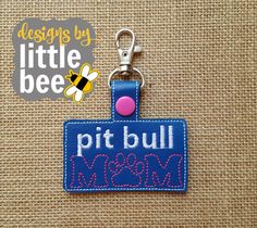 pit bull dog mom key fob snap tab keychain 4x4 hoop friendly embroidery design Instant Download! bean stitch, monogram rescue