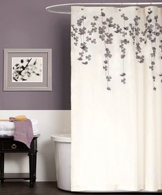 Shower curtain inspiration! Hot glue/sew faux flower petals cascading from top