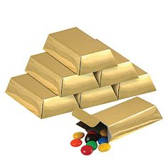 These Foil Gold Bar Favor Boxes make great additions to your event and hold candy and small favors with closeable ends.