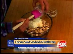 Interesting Cooking: Chicken Salad Sandwich & Truffle Fries #food #cook #kitchen Check more at https://epicchickenrecipes.com/chicken-salad-sandwich-recipe/cooking-chicken-salad-sandwich-truffle-fries-food-cook-kitchen/