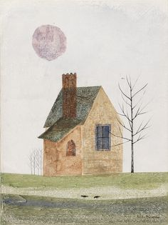 KEIKO MINAMI House with Sun and Trees. Watercolor and gouache with crayon and pen and black ink on white wove paper.  http://catalogue.swanngalleries.com