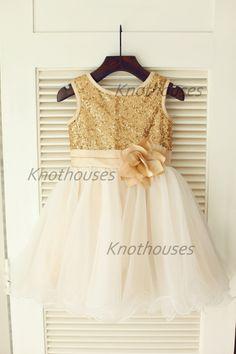 Gold Sequin IvoryTulle Flower Girl Dress Flower Belt Children Toddler Party Dress for Wedding Junior Bridesmaid Dress by knothouses on Etsy