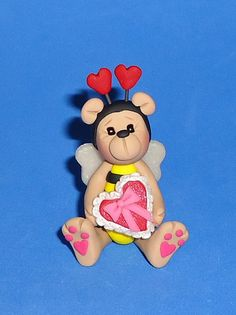 Polymer Clay Valentine Bumble Bee Bear by JHMiniatures on Etsy, $9.50