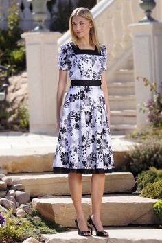 """MaKennzie"" Modest Dress in Black and White  Beautifully fitted print cotton dress fashioned with a flattering square neckline and pleated gathered sleeves. High cut waistline with a pleated skirt in front and back offers a slimming fit. A tulle skirt adds flair to this feminine modest dress. $75.00 http://www.jenclothing.com/dm-makennzie-black.html"