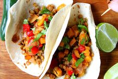 Chili Lime Lentil Tacos With Spicy Grilled Pineapple Salsa [Vegan]