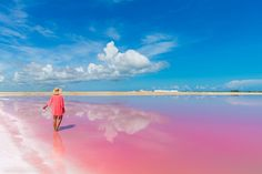 Pink lake + blue sky = an amazing instagram. @bruisedpassports at Las Coloradas as featured on our Yucatán Mexico photoguide- http://sidewalkerdaily.com/photoguide-yucatan-mexico/ #instatour
