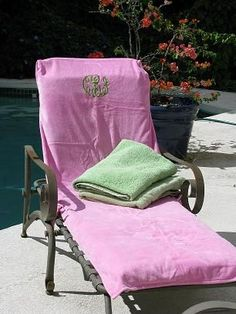 Monogrammed Lounge Chair Cover With Pockets