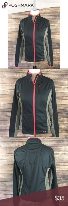 Under Armour Athletic Jacket Size Large Gray Pink Under Armour Womens Athletic Jacket Size Large Gray Pink Zip Up Semi Fitted. Measurements: (in inches) Underarm to underarm: 20 Length: 27  Good, gently used condition Under Armour Jackets & Coats