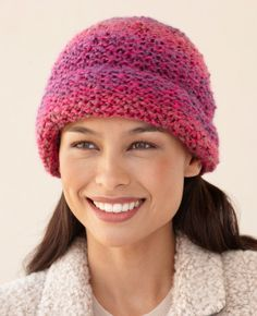 This knit hat using only one stitch and one ball of yarn - making it a great gift for all your friends!  Knit it with Lion Brand's Homespun yarn for a super cozy and super warm hat.