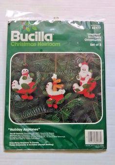 Bucilla Kit 82177 Jeweled Stitchery Ornaments Set of 3 Holiday Airplanes  #Bucilla