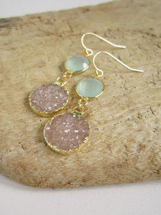 Sand Druzy Earrings Drusy Quartz Sea Green Chalcedony Drops Gold Vemeil Bezel Set