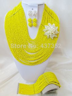 Marvelous 20 layers Opaque Yellow Crystal Costume Necklaces Nigerian Wedding African Beads Jewelry Sets Free shipping NC849 $118.89