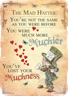 Alice in Wonderland Printable A4 Poster Art - Mad Hatter Tea Party Lost your Muchness Quote by GiraffeandCustard on Etsy
