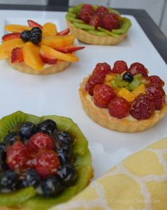 Summer Fruit Tartlets featuring fresh strawberries and other summer fruits. Mini Tartlets, Fruit Tartlets, Anna Olson, No Bake Desserts, Delicious Desserts, Dessert Recipes, Easy Cookie Recipes, Sweet Recipes, Puff And Pie