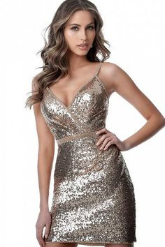 JVN by Jovani Homecoming Gold V Neck Spaghetti Straps Sequin Cocktail Dress Sequin Cocktail Dress, Short Cocktail Dress, Sequin Dress, Cocktail Dresses, Metallic Dress, Gold Dress, Bat Mitzvah Dresses, Figure Flattering Dresses, Sweet 16 Dresses