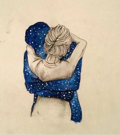 Hug and galaxies art by Art And Illustration, Art Sketches, Art Drawings, Fond Design, Arte Sketchbook, Couple Drawings, Anime Sketch, Couple Art, Love Art