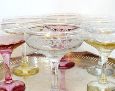 #Vintage #Champagne #Coupe Glasses 1930s Stemware by AZCreativeStudio, $85.00