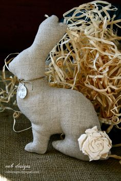 Stuffed linen bunny made by julie at eab designs. For a free template & tutorial visit www.eabdesigns.ty...