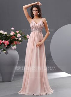 A-Line/Princess V-neck Floor-Length Chiffon Prom Dress With Ruffle Beading Sequins (018022729) - JJsHouse