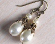 Vintage Style Bridesmaid Pearl Earrings by NaturesWildJewels