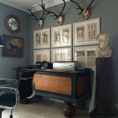 Simon Upton Antler Art, Willow Creek, Gothic House, Antlers, Framed Art, Picture Walls, Design Inspiration, Gallery Walls, Cabinet