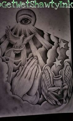 Adding To The Drawing #GetWetShawtyInk #Tattoo Christ Tattoo, Praying Hands Tattoo, Dove Tattoos, New Tattoos, Body Art Tattoos, Tattoos For Guys, Rip Tattoo, Tattoo Drawings, Pigeon Tattoo