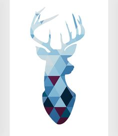 Deer art Navy art Blue wall print Deer print by ShopTempsModernes