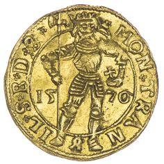 Siebenbürgen, Christoph Bathory 1576 - 1581, Dukat 1576 Gold Av: Stehender Sankt Ladislaus zwischen geteilter Jahreszahl. Rv: Auf Mondsichel sitzende Madonna, darunter das Hermannstädter Wappen