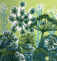 Parsnip Flowers, An original three colour linocut print | Zoe Badger | The author tried to capture the various degrees of development forming on the actual flower head, it goes from pale green buds to little yellow flowers and finally a seed case is left, which turns again from deep green to a washed out khaki brown. It is fascinating how one plant can have all these changes at the same time