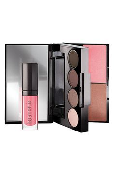 Laura Mercier 'Colour to Go - Warm Neutrals' Portable Palette | Nordstrom  shadows: Ballerina Pink, Rosy Taupe, Cocoa Brown, Ground Espresso; Lip Glace in Baby Doll; Bronzing Pressed Powder in Soft Bronze; Second Skin Cheek Colour (blush) in Pink Lotus