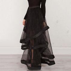 High Waisted Black Perspective Irregularity Women's Skirt I'm buying one! Skirt Fashion, Fashion Dresses, Style Fashion, Modest Fashion, Diy Fashion, Fashion Silhouette, Womens Maxi Skirts, Party Skirt, Ballroom Dress