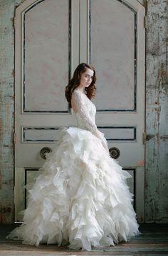 Long Sleeve Wedding Dress With Ruffles