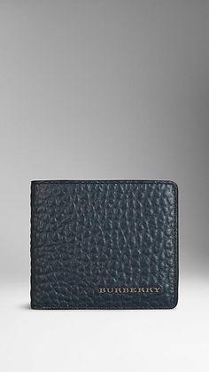 Navy Signature Grain Leather Folding Wallet - Image 1