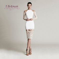 granni Long Sleeves Knee Length Little white Dress for Women Party