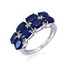 5.00ctw Genuine Blue Sapphire & Diamond Accent Ring in Sterling Silver