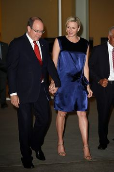 Prince Albert II and Princess Charlene of Monaco arrive to attend 'Prince Albert II of Monaco's Foundation' Award Ceremony on 12.10.2014 in Palm Springs, California.