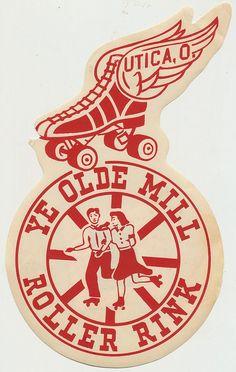 Ye Olde Mill Roller Rink Vintage Labels, Vintage Ephemera, Vintage Ads, Vintage Prints, Vintage Designs, Retro Illustration, Illustrations, Roller Rink, Roller Derby