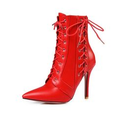 11 46 Size Big Black White Shoes Autumn Toe Pointed Boots Mid-Calf Up Lace Heel  High Red Winter Women Meotina aaf31eb3a856