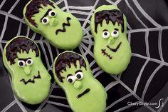 Halloween Frankenstein cookies, fun treats for the kids! - CherylStyle