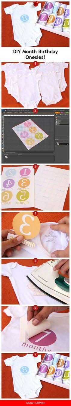 wikiHow to Make Month Birthday Onesies -- via wikiHow.com #DIY #Babies