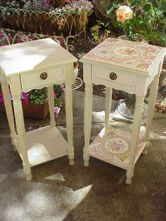 broken china mosaics side tables before/after