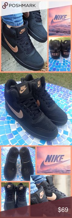 LIKE NEW!  Nike Court Borough mid-top sneakers Pristine condition Nike women's Court Borough mid top sneakers have barely been worn, in virtually perfect condition!  These beauties are the perfect combo of low & high-tops and available in gorgeous black/rose gold to pair with absolutely everything!  They are ideal from the court to the street & available in size 7.  Retail at $80 & worth every penny!  No trades please.  Don't miss them! Nike Shoes Sneakers