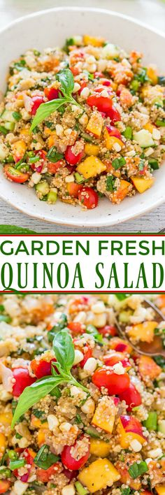 Garden Fresh Quinoa Salad - Loaded with everything fresh, light, healthy, and SUMMERY! Clean Eating Recipes, Healthy Eating, Cooking Recipes, Healthy Salad Recipes, Vegetarian Recipes, Delicious Recipes, Healthy Foods, Yummy Food, Fresco