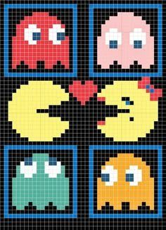 Crochet Blankets For Men PacMan with ghosts - I got a few requests for my pac-man pillow chart so I decided to post it. The pillow was done using Tunisian crochet. If you look at my earlier post my first ravelry swap you can find out all about… Crochet Pattern Free, Crochet Chart, Crochet Blanket Patterns, Crochet Blankets, 8 Bit Crochet, Pixel Crochet Blanket, Crochet Cross, Crochet Pillow, Cross Stitch Designs