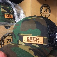 8a5eecdaca0c9 Camo Keep Hammering Leather Patch Hat