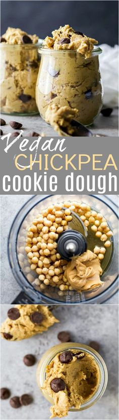 Vegan Chickpea Cookie Dough made in a blender.  A healthy eggless no bake cookie dough recipe to satisfy that sweet tooth! {gluten free, refined sugar free, dairy free} #sweettooth