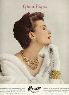 Vogue 1957 Mary Jane Russell for Monet. Matching bracelet, matching necklace, matching earrings. No problems with what to wear here.